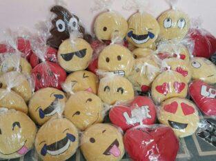 Emoji and decorative pillows